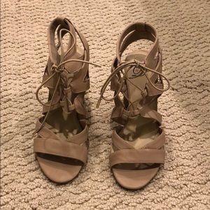Strappy light brown heels